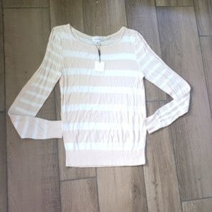 Calvin Klein striped cold shoulder knit sweater S